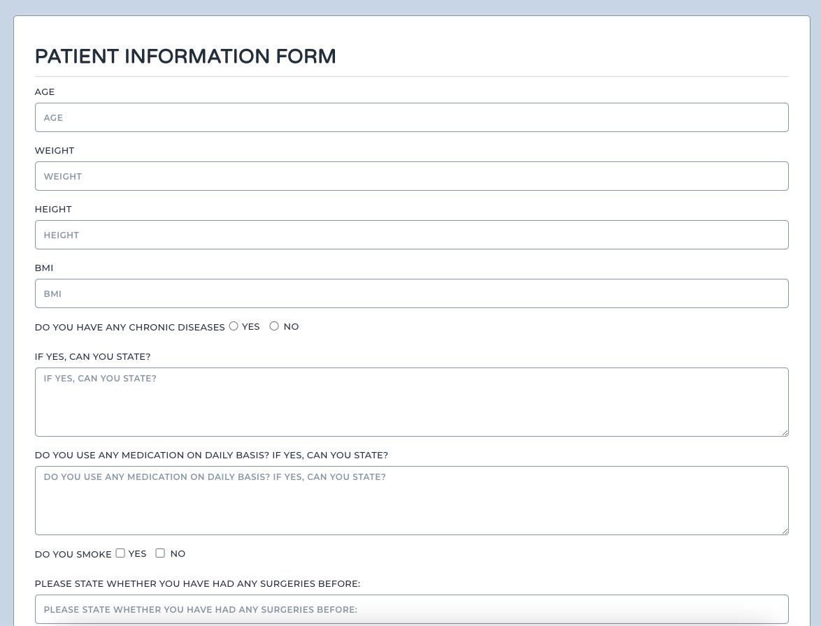 yabancı hasta takip programı form gönderme ekranı