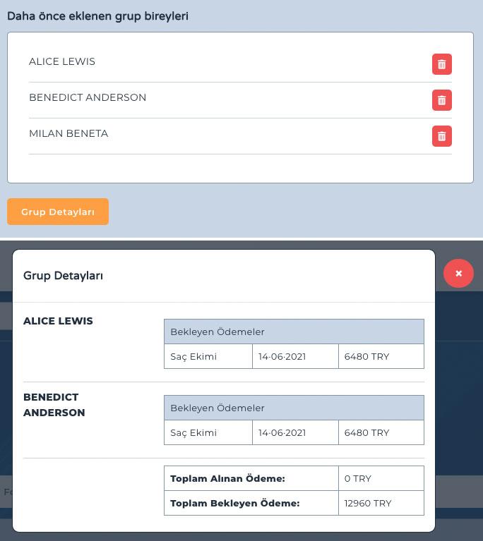 yabancı hasta takip programı grup yönetim ekranı